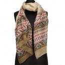 Speciale prijs: halsdoek, 180x50cm, bruin, rood, g