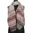Speciale prijs: halsdoek, 180x50cm, grijs, rood,