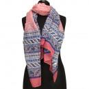 Speciale prijs: halsdoek, 180x50cm, roze, blauw