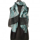 Special price: scarf, 180x70cm, turquoise, black