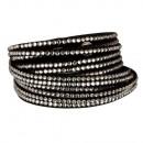wholesale Artificial Flowers: Wrap bracelet PU, 40x2cm, black