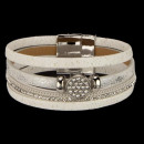 wholesale Accessories & Spare Parts: Fashionable bracelet PU, 20x2cm, white-silver