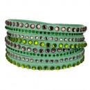wholesale Artificial Flowers: Wrap bracelet PU, 40x1,7cm, green