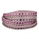 wholesale Artificial Flowers: Wrap bracelet PU, 40x1, 7cm, pink