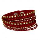 wholesale Artificial Flowers: Wrap bracelet PU, 40x1, 7cm, red