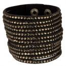 ingrosso Gioielli & Orologi: Ampio bracciale PU, 22x5cm, nero