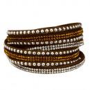 wholesale Artificial Flowers: Wrap Bracelet PU, 40x2cm, Brown