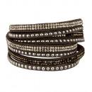wholesale Artificial Flowers: Wrap bracelet PU, 40x2cm, gray