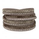 wholesale Artificial Flowers: Wrap bracelet PU, 40x2cm, light gray