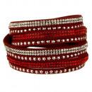 wholesale Artificial Flowers: Wrap bracelet PU, 40x2cm, red