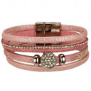 wholesale Jewelry & Watches: Fashionable bracelet PU, 20x2cm, Pink