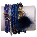 8-strengs mode-armband, blauw
