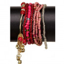 8-strengs mode-armband, rood-roze