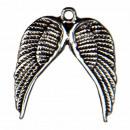 50 zawieszki / charms podwójne skrzydło, srebrne