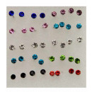 Box with 30 pairs of ear pins with stones 2.5 mm