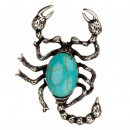 wholesale Jewelry & Watches: Pendant / Brooch Scorpion, synth. Turquoise