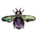Hanger / broche bee, amethist / abalone