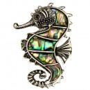 Hanger / broche Seahorse, Abalone