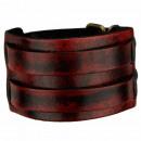 Leren armband, Vintage Rood