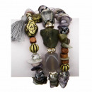 Slangenarmband met natuursteen, grijs
