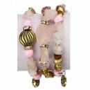 Slangenarmband met natuursteen, roze