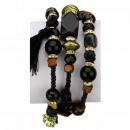 Slangenarmband met natuursteen, zwart