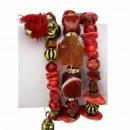 Slangenarmband met natuursteen, rood