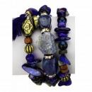 Slangenarmband met natuursteen, blauw