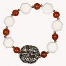 Bracelet white coral / red coral