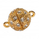 wholesale Jewelry & Watches: Magnetic closure  ball with stones, 8mm, gold