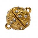 Großhandel Beads & Charms: Magnetverschluss  Kugel mit Steinen, 10mm, Altgold