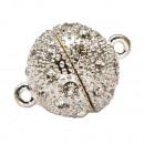 Magnetische sluiting bal met stenen, 14mm, Hellsil