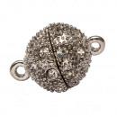 Magnetische sluiting bal met stenen, 16mm, zilver