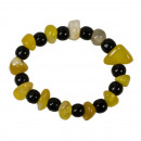 Natuursteen armband agaat, geel-zwart