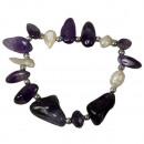 Natural stone bracelet amethyst / pearl