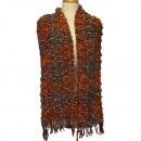 wholesale Scarves & Shawls: Stylish ladies  scarf, 170x23cm, orange-gray