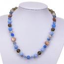grossiste Bijoux & Montres: Collier fac agate bleue / perle / verre fumée