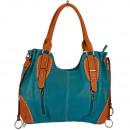 Großhandel Handtaschen: Modische Handtasche Silke, Türkis/Braun