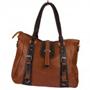 Fashionable Handbag Julia, Light Brown / Dark Brow