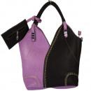 Großhandel Handtaschen: Extravagante Handtasche Sandra mit Etui, Lila/Schw