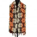 Stijlvolle dames sjaal, 180x40cm, bruin-oranje