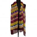 Sjaal, 180x50cm, Paars-Geel-Blauw