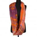 Snood / Loop, oranje, paars, 180x95cm