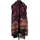 Sjaal, paars-zwart-bruin, 180x100cm