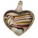 Großhandel Anhänger: Kleiner Glasanhänger, Herz weiß/lila/gold ...