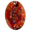 Großhandel Schmuck & Uhren: Glasanhänger Oval rot/gold/bunt 47x33mm