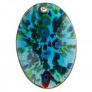 Großhandel Schmuck & Uhren: Glasanhänger Oval blau/gold/bunt 47x33mm