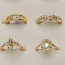 Großhandel Ringe: Sortiment Moderinge mit Steinen, Rosegold