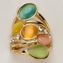 Großer Cateye-Ringe, Rosegold-Bunt