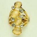 Großer Cateye-Ring mit Steinen, Gelbgold